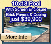 10x18 Pool with screen enclosure just $17,900
